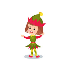happy little girl in the costume of elf kid in vector image