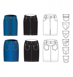 jeans skirts vector image vector image