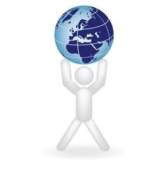 man holding globe vector image vector image