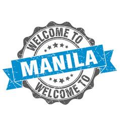 Manila round ribbon seal vector