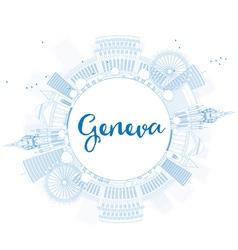 Outline geneva skyline with blue landmarks vector