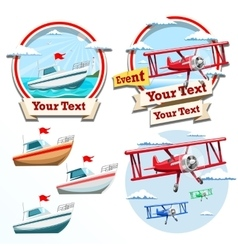 Plane and boat summer time vector image
