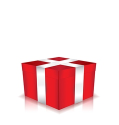 red gift box with white ribbon vector image vector image