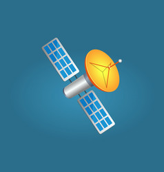 Satellites in cartoon style with yellow aerial vector