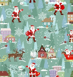 seamless texture with christmas city landscape vector image vector image