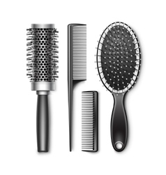 Set of Grooming and Hot Curling Radial Hair Brush vector image vector image