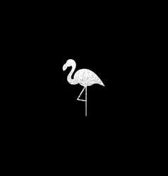 silver flamingo silhouette vector image