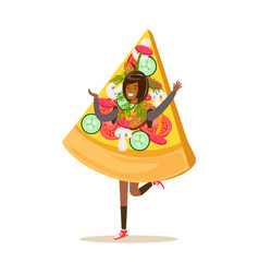 Smiling woman wearing pizza costume fast food vector