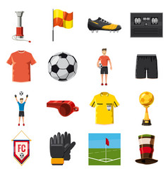 Soccer icons set football cartoon style vector