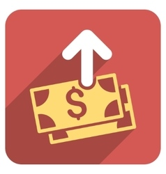 Spend money flat rounded square icon with long vector
