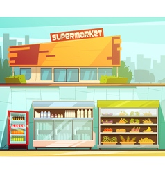 Supermarket 2 retro cartoon banners set vector