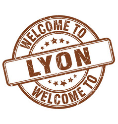 Welcome to lyon brown round vintage stamp vector