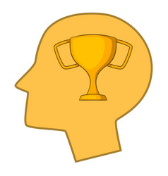Winner cup in human head icon cartoon style vector