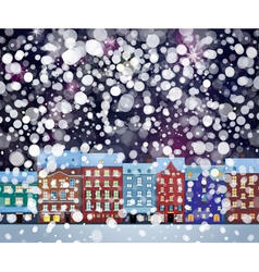 Winter city night vector