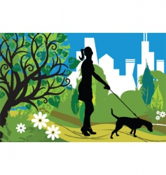 woman with a dog park vector image vector image