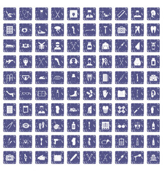 100 medical care icons set grunge sapphire vector