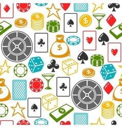 Casino gambling seamless pattern with game objects vector