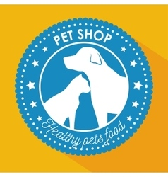 Pet shop healthy food blue sticker with star vector