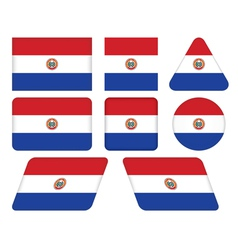 Buttons with flag of paraguay vector