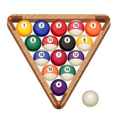 billiard balls in wooden rack vector image
