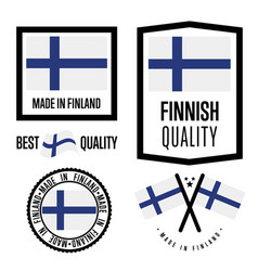 Finland quality label set for goods vector