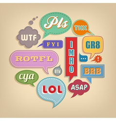 Comic Speech Bubbles Set with popular acronyms vector image