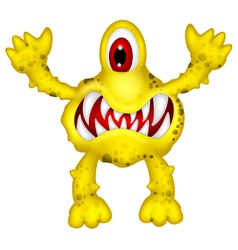 Yellow monster cartoon vector