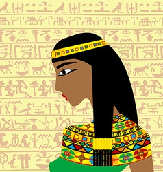 Ancient egyptian woman profile over a background vector