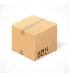 Closed cardboard box isolated on white vector image