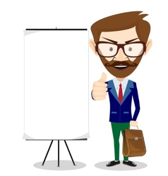 Teacher with blank poster vector