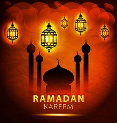 traditional lantern Ramadan Kareem art beautiful vector image