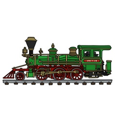 Old green american steam locomotive vector
