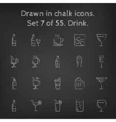 Drink icon set drawn in chalk vector