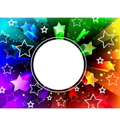 Banner on rainbow background vector
