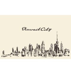Kuwait skyline vintage drawn vector