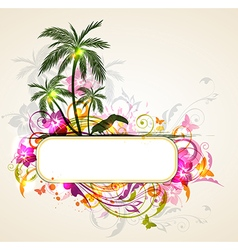 Tropical background with palms and toucan vector image