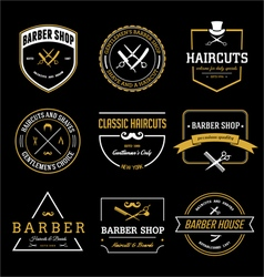 Vintage barber shop and haircut badges vector