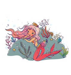 Mermaid and octopus king under the sea vector