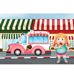 A fat young girl eating icecream vector image vector image