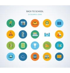 Back to school flat icons design vector image