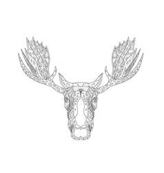 Bull moose head doodle vector