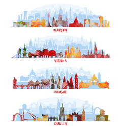 cityscapes of warsaw vienna prague dublin vector image