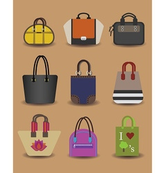 Colorful assorted women purse icon set vector