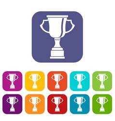 Cup for win icons set vector