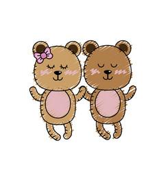Cute animal couple bear together vector