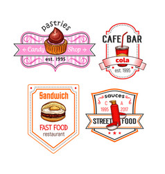 Fast food snack meal and desserts icons set vector