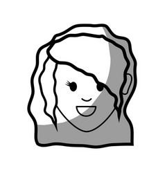 Figure happy nice woman with hairstyle vector