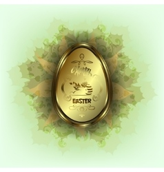 Golden easter egg with bunny vector