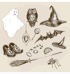 Halloween hand drawn set vector image vector image