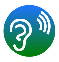 Human ear sign white icon in bluish vector